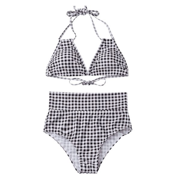 69b4122f293dbb 2018 plaid color swimwear sexy high waist bikini two piece swimsuit women  backless Monokini swimsuit sport