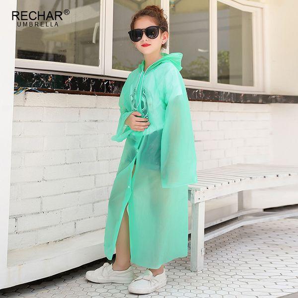 top popular New Polychromatic Waterproof EVA Rain Coat Boy Children Raincoat Girls Windproof Poncho Kindergarten Kids Baby Rainwear Rainsuit 2019