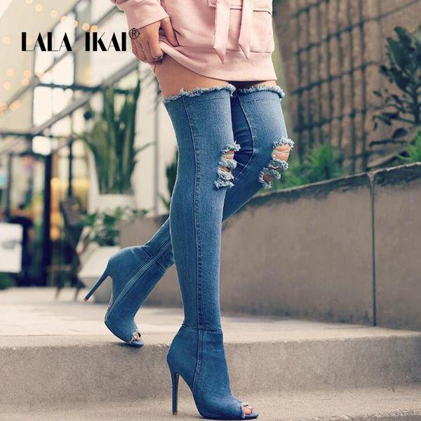 LALA IKAI Denim Women Tall Boots Moda Peep Toe High Heels Sexy Otoño sobre la rodilla botas Mujer Zapatos Talla grande 014N1288 -3