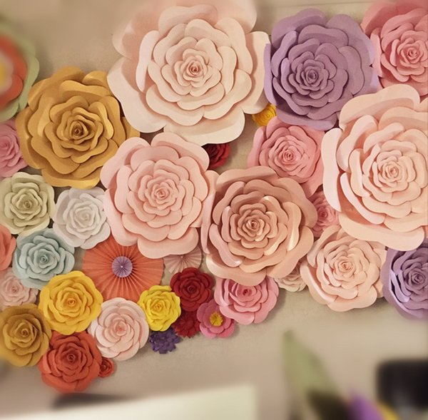 DIY Half Made Giant Paper Flowers Large Artificial Rose Flower Home Wedding Party Backdrop Wall Decorations Photography Props