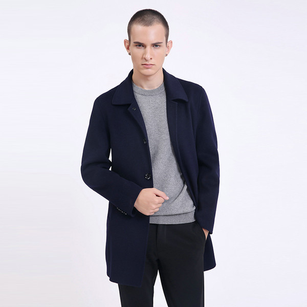 2018 Winter New Fashion Brand Coat For Fall Slim Fit Pea Coat Warm Jacket Wool Blends Overcoat Trench Coa Casual Mens Clothes