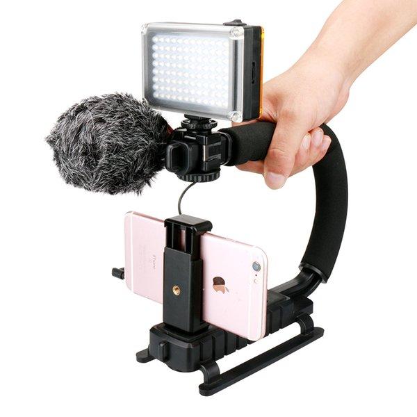 Ulanzi U-Grip Smartphone Video Kavrama Kiti ile BOYA BY-MM1 Mikrofon 96 LED Video Işığı Pil Evrensel Telefon iPhone 7 için Klip