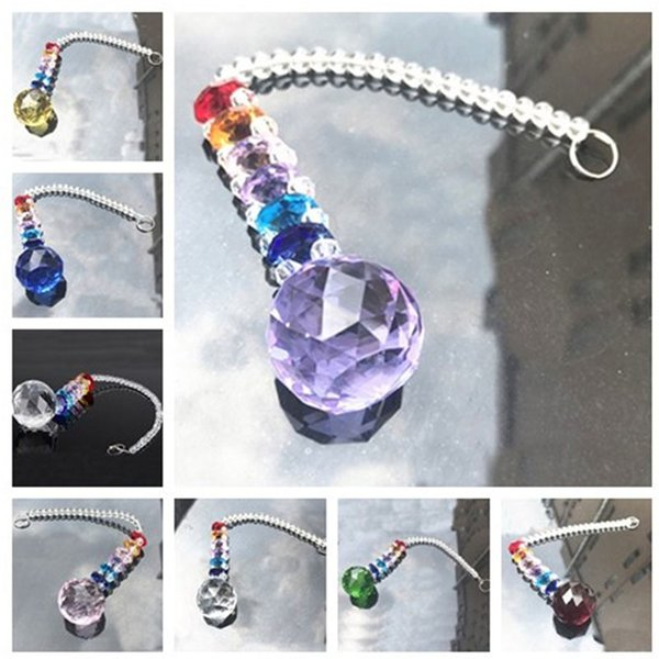 7PCS K9 Crystal 30mm Ball Suncatcher Feng Shui Prisms Pendant Pendulum Hanging crystals Home Decor W015