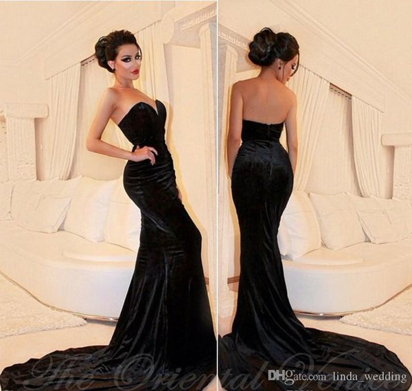 2017 Newest Arabic Sexy Sweetheart Evening Dress Black Velvet Formal Holidays Wear Graduation Prom Party Gown Custom Made Plus Size