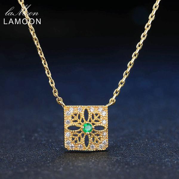 LAMOON 2mm 0.06ct 100% Naturel Émeraude 925 Bijoux En Argent Sterling 14 K Jaune Plaqué Or Chaîne Collier Pendentif S925 LMNI018Y1882701