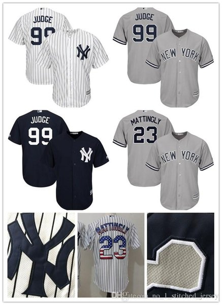 new style 299a8 5d47f 2018 New York Yankees Aaron Judge 99 Jersey Don Mattingly 23 Baseball  Jerseys Majestic Home White/Navy Cool Base Player Stitched Jersey From ...