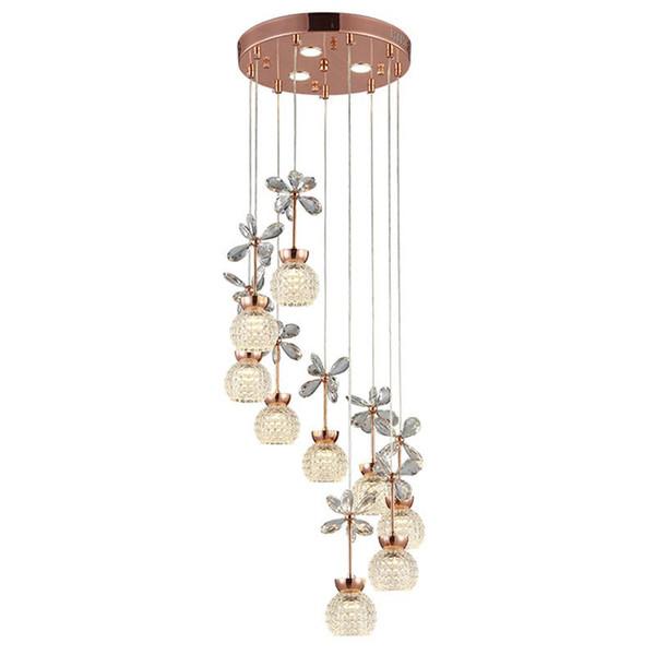 OOVOV Spiral Staircase LED Crystal Long Pendant Lamps Modern Duplex Stair Chandelier Dining Room Restaurant Pendant Light