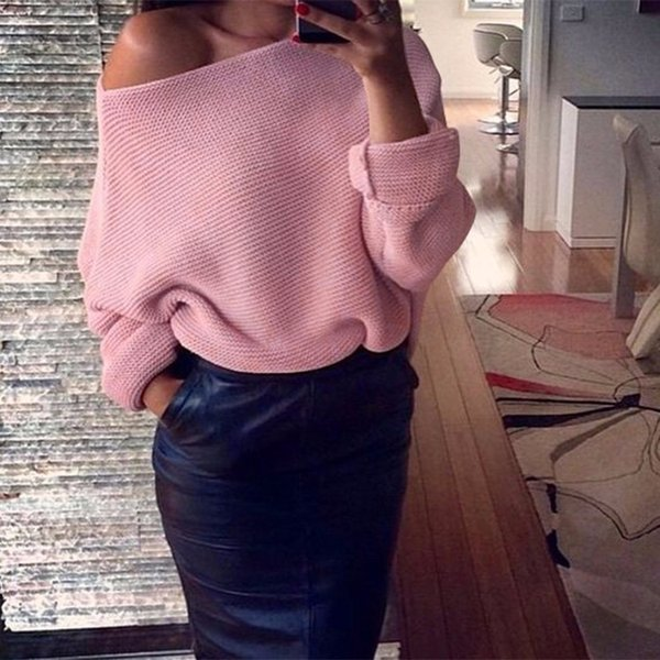 Ombro Off Sexy Camisolas das mulheres knitted longo Batwing luva Pullovers fêmeas Jumper Sólidos camisola Pull Casual