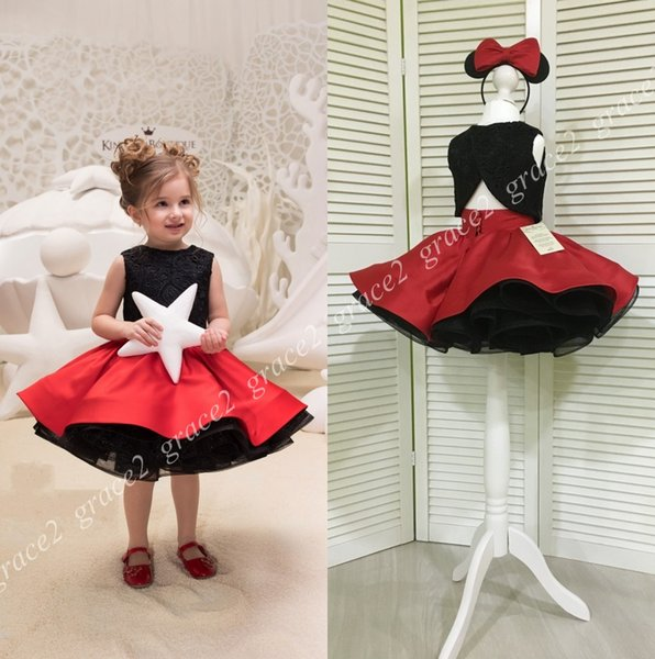 Black/Red 2 Pieces Girls Pageant Dresses 2018 Lace Bodice & Red Satin Skirt Real Pictures Cupcake Glitz Baby Formal Event Party Dress
