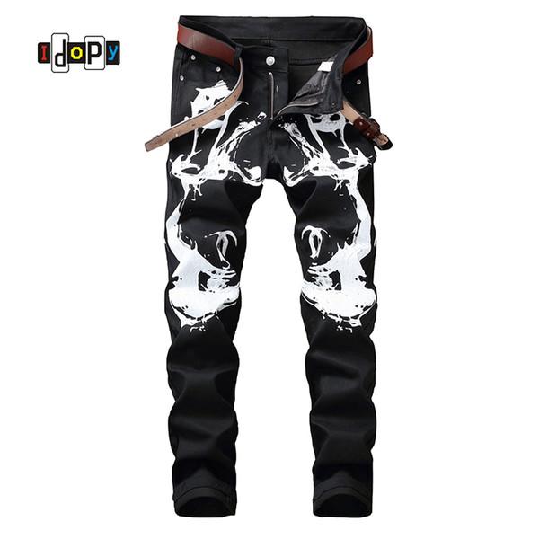 Cool Men`s Hip Hop Printed Jeans Black Painted Slim Fit Elastic Denim Trousers Pants For Male Wholesale