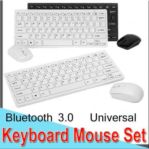 Keyboard Mouse Set Combos Ultra-Slim 2.4G Wireless Combos Mini Keyboard and Mouse Bluetooth 3.0 USB Universal for Laptop EXCTHK3300 50 Packs
