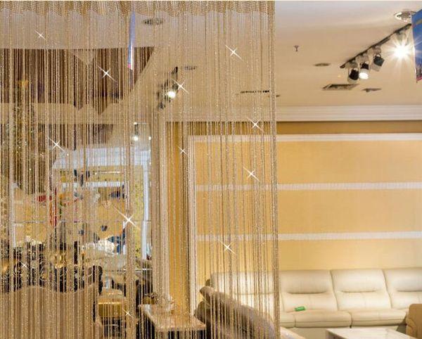 top popular 100*200cm Shiny Tassel Flash Silver Line String Curtain Window Door Divider Sheer Curtain Valance Home Decoration 2020
