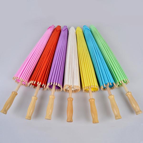 50 unids 23.6 pulgadas (60 cm) Papel de Bambú Mango Largo Parasoles Paraguas Sombrilla de Sol Al Aire Libre Fiesta Eventos Decoración ZA4697