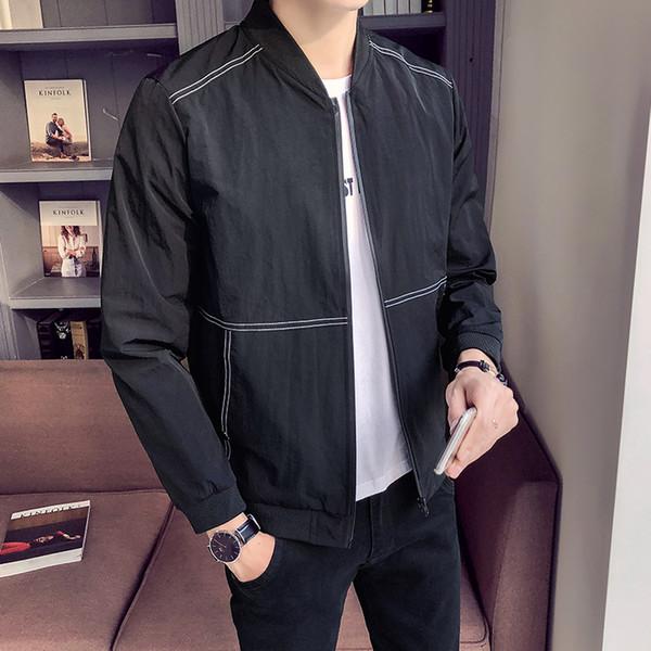 Moda 2018 Outono Novas Jaquetas Homens Slim Fit Casual Business Mens Jaqueta de Manga Longa Gola Blusão Casaco Masculino clothing