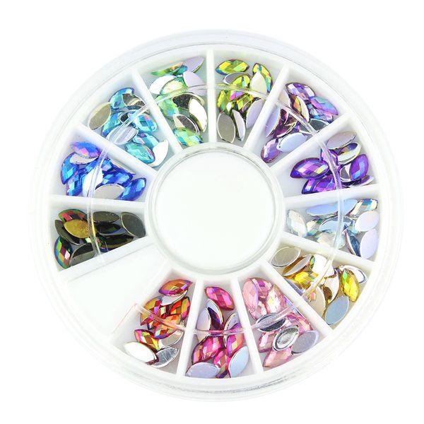 Blueness 12 couleur brillant cheval oeil conception acrylique roue paillettes strass manucure conseils pour les charmes 3D Nail Art décorations ZP202