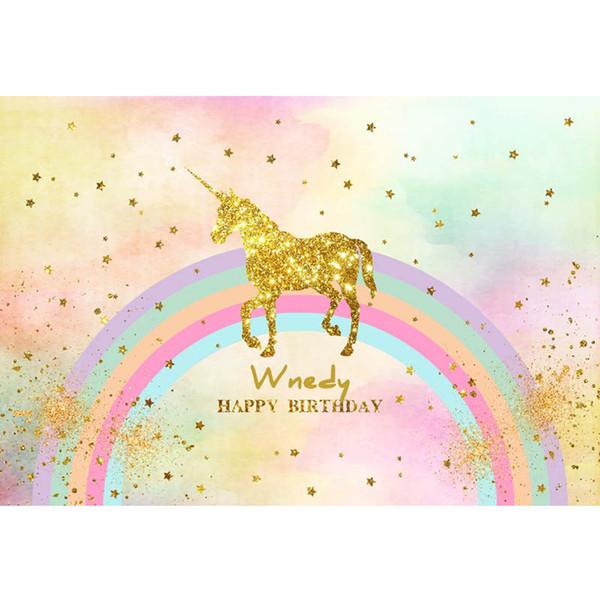 Acheter Joyeux Anniversaire Or Licorne Photographie Toile De Fond Imprimé étoiles Arc En Ciel Nouveau Né Princesse Bébé Enfants Aquarelle Fête Photo