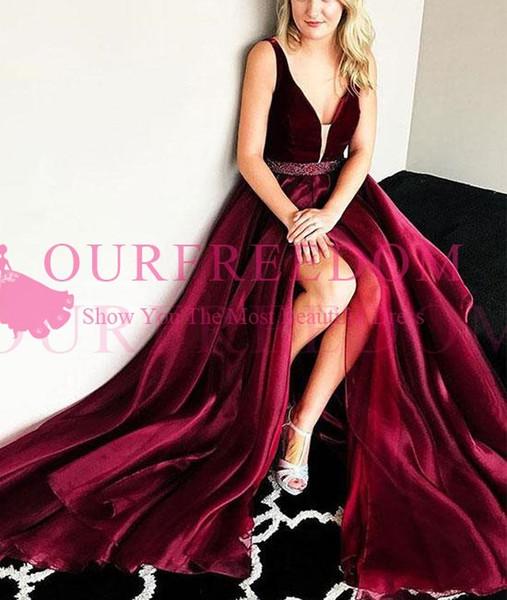 2018 Burgundy Velvet Prom Dresses Sexy V Neck Sexy Side Split Beaded Belt Formal Evening Dresses Speical Occasion Dresses Custom Made
