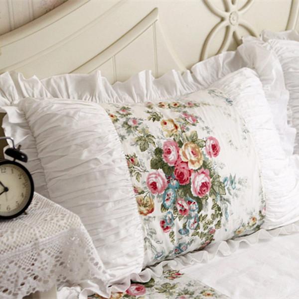 2pcs taie d'oreiller européenne pastorale à volants dentelle couvre à la main ride fait jeter taies d'oreiller brodé taie d'oreiller