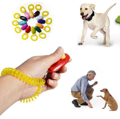 Pet Trainer Hund Hunde Clicker Einstellbare Sound Schlüsselanhänger und Handschlaufe Doggy Zug Klicken Pet Training Tool Top Qualität