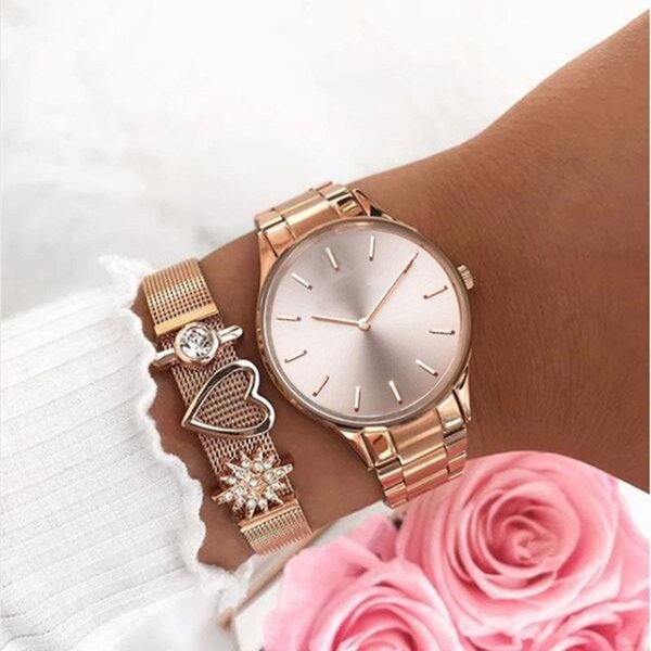 Mavis Hare Beauty 34mm Hermosa Rose Gold Watches con The Perfect Match Mesh Charm Melrose Mujer Relojes pulsera como regalo