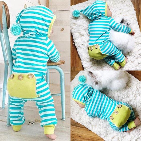 Foreign trade fashion creeping clothes for newborns cute baby jumpsuits new striped jumpsuits 70-100