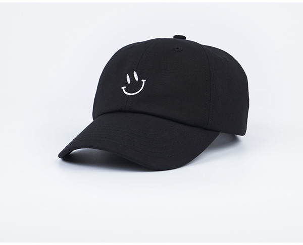 Mens And Womens Baseball Cap Smiley Face Embroidery Snapback Adjuatable Hat Printed Black Or White Smile Unisex Dome Hip Hop Hats black