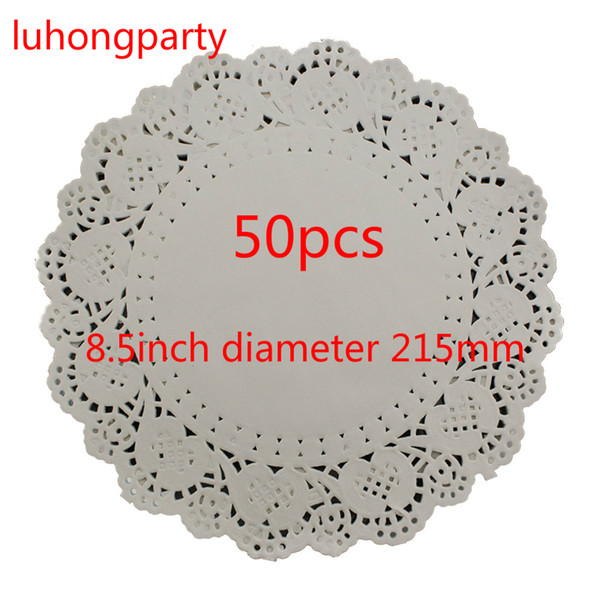 "50pcs 8.5"" diameter 215mm white paper pads Vintage napkin Hollowed Lace mats Crafts doily doyley Wedding Decoration"