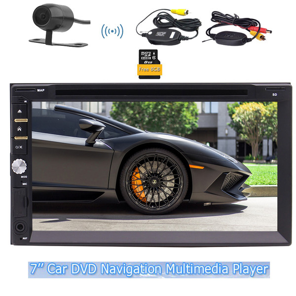 Eincar 7'' Double Din in Dash Car DVD Player Capacitive Touch Screen 1080P Bluetooth FM/AM/RDS Radio Tuner Audio subwoofer colorful Button