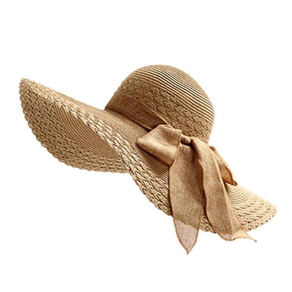 OnnPnnQ 2018 New Fashion Women Ladies Wide Large Brim Floppy Summer Beach Sun Straw Hat Cap with Big Bow 6 Color for U Choose