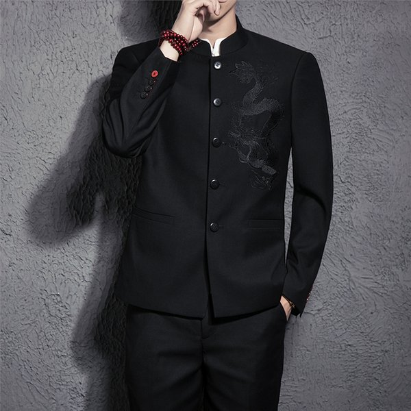 Chinese Style Men's Black Suit Two-piece Set Fashion Classic Design Embroidery Men Suit Jackets and Pants Size S-3XL