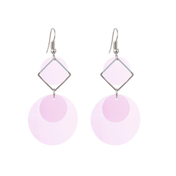 Sequins Long Dangle Earrings For Wedding Party Christmas Gifts Round 2.9x6.6cm Long Drop Earrings Pink Fashion Women Costume Jewelry