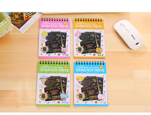 Scratch note Black cardboard Creative DIY draw sketch notes for kids toy notebook zakka material Coloring Drawing Note Book Supplies
