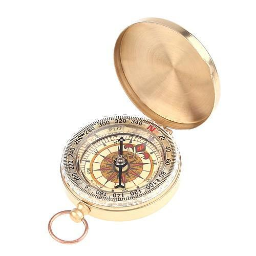 Wholesale-Classic Brass Pocket Watch Style Camping Compass Hiking Outdoor Hiking Camping Accessories Noctilucent Compass Free Shipping