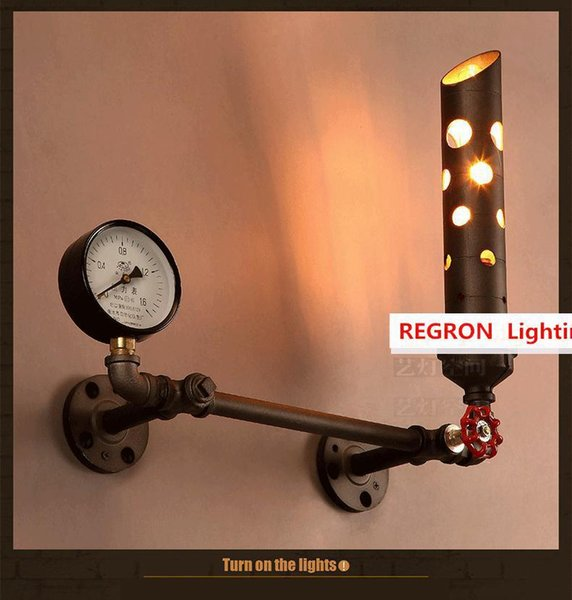 Regron English style Retro Creative Industrial Chimney Wall lamp sconce Metal Wall fixtures Bar Cafe Dining room Aisle Living Playroom
