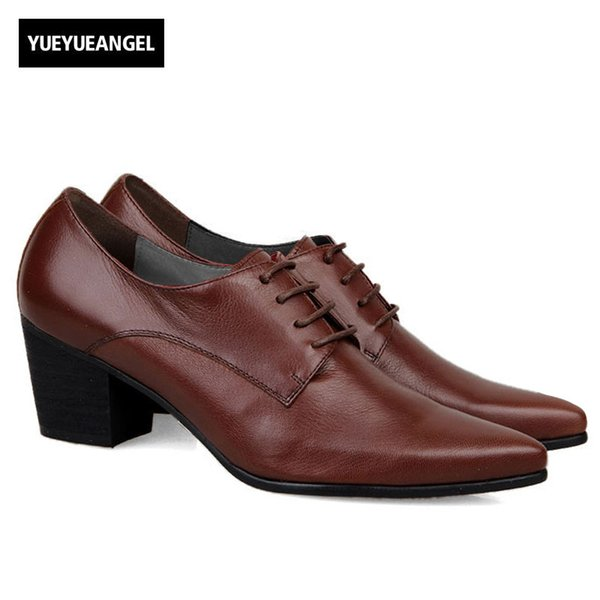 Italy Design High Quality  New Fashion Mens Lace Up Pointy Toe Oxfords Formal Dress Shoes Cuban Heels Leather Business Shoe