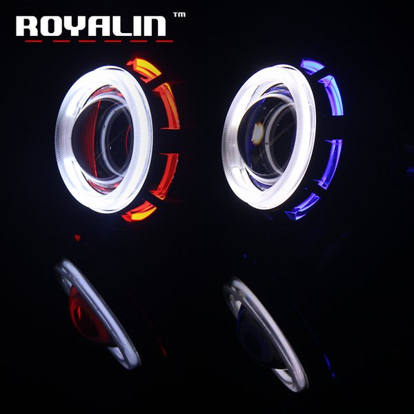 ROYALIN 2.0 Motorcycle Headlight Lens H1 Bulb CCFL Twin Angel Eyes Halo Rings Xenon Halogen Projector for Auto Hi/Lo Beam H4 H7