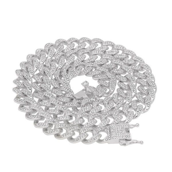 Hip Hop Bling Iced out 13mm 16-24inches Cuban Link Chain Necklace Gold Silver Jewelry for Men