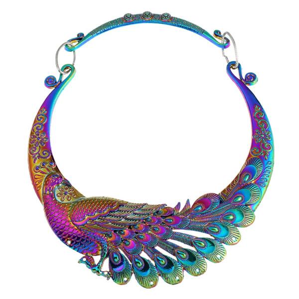 KLEEDER Russland Modeschmuck Emaille Multi Color Peacock Halskette für Frauen Aussage Choker Halskette Hochzeit