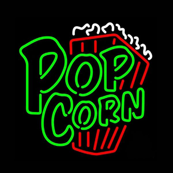 "Green Popcorn Neon Sign Hand-crafted Custom Real Glass Tube Store KTV Club Cinema Theatre Advertising Display Neon Signs Free Design 24""X24"""