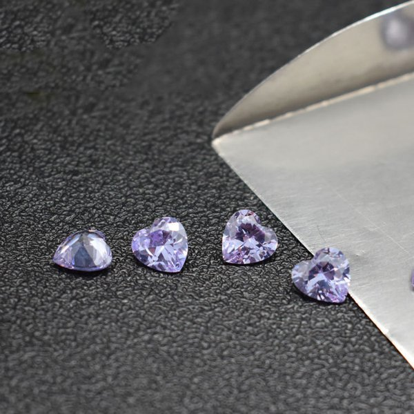 Factory Direct Heart Shape 3-8mm Lavender Cubic Zirconia Machine Cut Synthetic Loose Stones For Jewelry CZ Setting 500pcs/Lot Free Ship