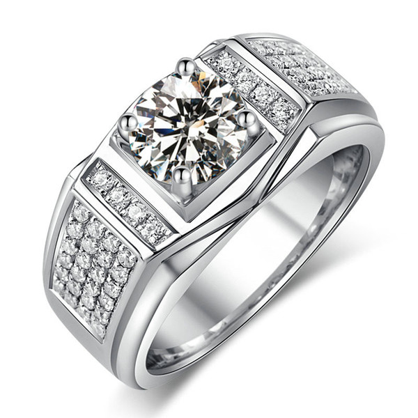 Fashion Jewelry New Design Jewelry Men ring zircon 5A Zircon stone 10KT White Gold Filled Engagement Wedding Band Ring