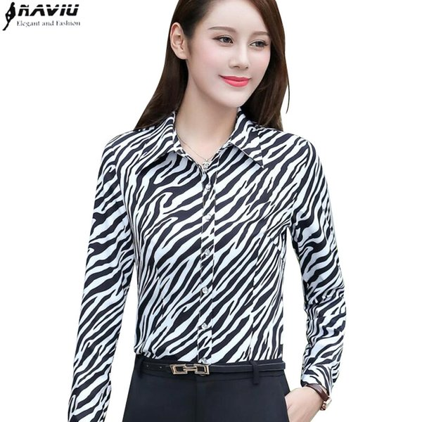 Spring Elegant women Zebra pattern shirt OL fashion clothes formal slim long sleeve chiffon blouse office ladies plus size tops