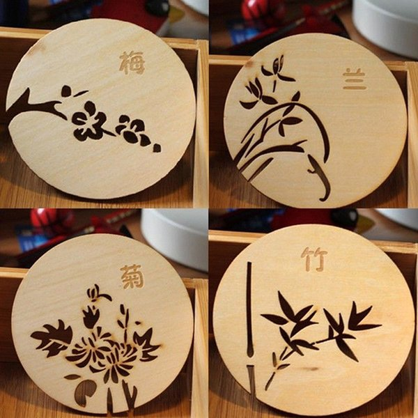 1 Pcs Chinese Flowers Plum Blossoms Orchid Bamboo And Chrysanthemum Wooden Carved Home Coasters Table Coffee Bar Cup Mat