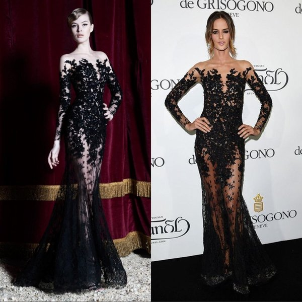 2019 Dresses Evening Wear Long Sleeves Black Lace Sheer Mermaid Prom Dresses Party Gowns Long Special Occasion Dubai Arabic Gowns Short Evening