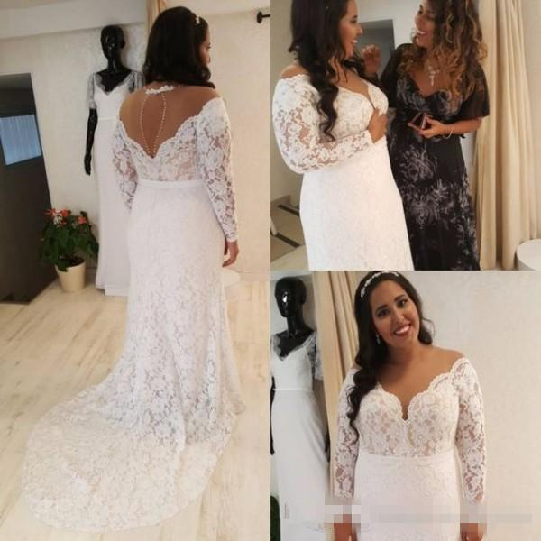 Plus Size Wedding Dresses with Sleeves 2018 Tulle Neck Full Lace Country Wedding Dress Illusion Long Sleeves Cut Out Back Sweep Train