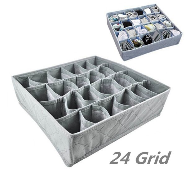 24 Grid Foldable Drawer Divider Storage Bra Box Makeup Organizer Closet Necktie Underwear Socks Home Storage Container Non-Woven