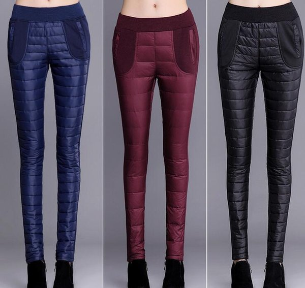 New lady Winter Pants High Waisted Outer Wear Women Fashion Slim Warm Windproof Velvet Thick Down Pants women's pencil pants