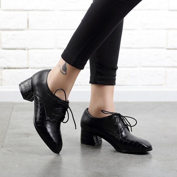 ladies Shoes female woman 2018 fashion Rough Heel Single Shoes Lace-Up Casual Pattern Ankle Boots woman botas mujer