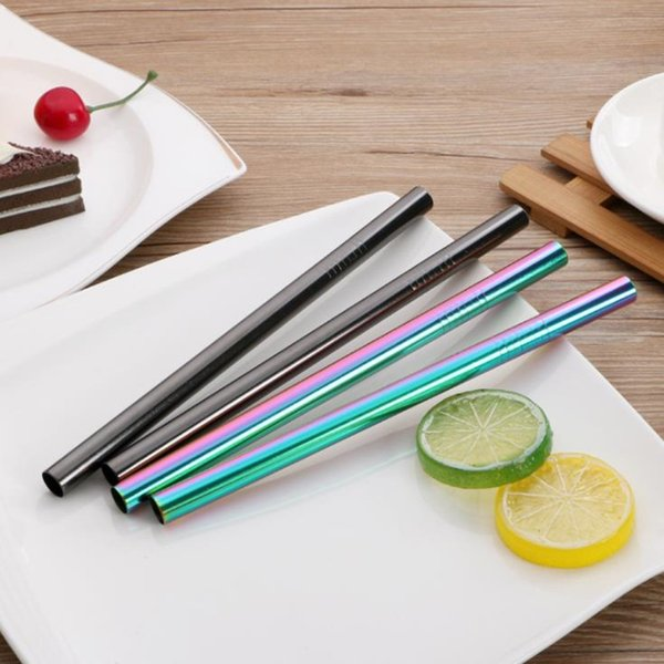 Metal Straight Drinking Straw Eco-Friendly Stainless Steel Straw Food Grade 12MM*215CM Bar Accessories fast shipping F20173913