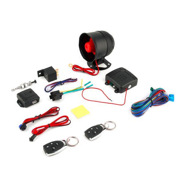 Бесплатная доставка универсальный 1-полосная автомобильная сигнализация автомобильная система защиты система безопасности бесключевой Сирена + 2 пульт дистанционного управления взломщик горячей продажи